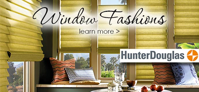 The Carpet Man offers stunning window fashions from Graber and Hunter Douglas.