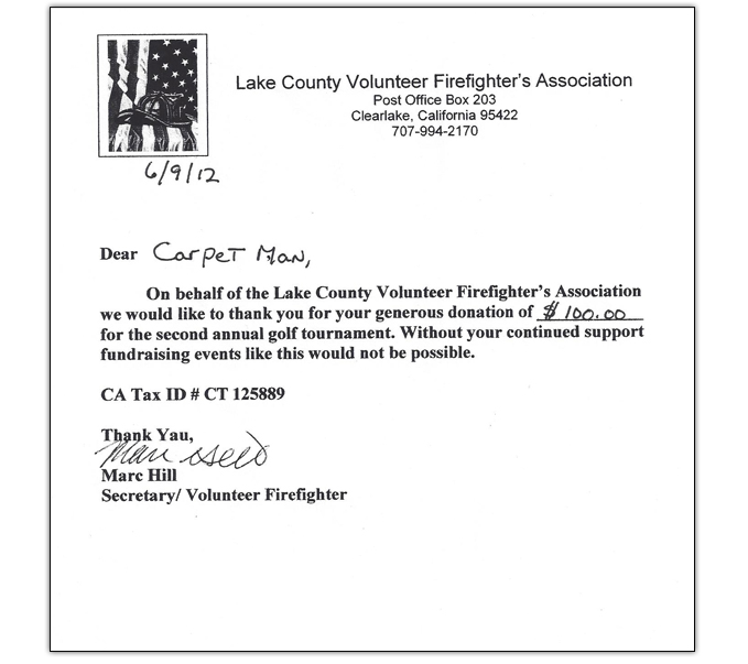The Carpet Man in Lakeport, CA proudly supports the Lake County Volunteer