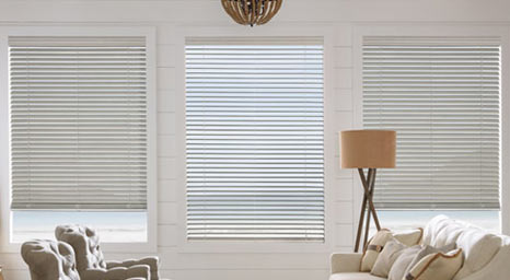 Faux Wood Blinds from Hunter Douglas available at The Carpet Man in Clearlake and Lakeport.